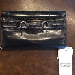 Genuine black leather wallet -clutch peck & peck